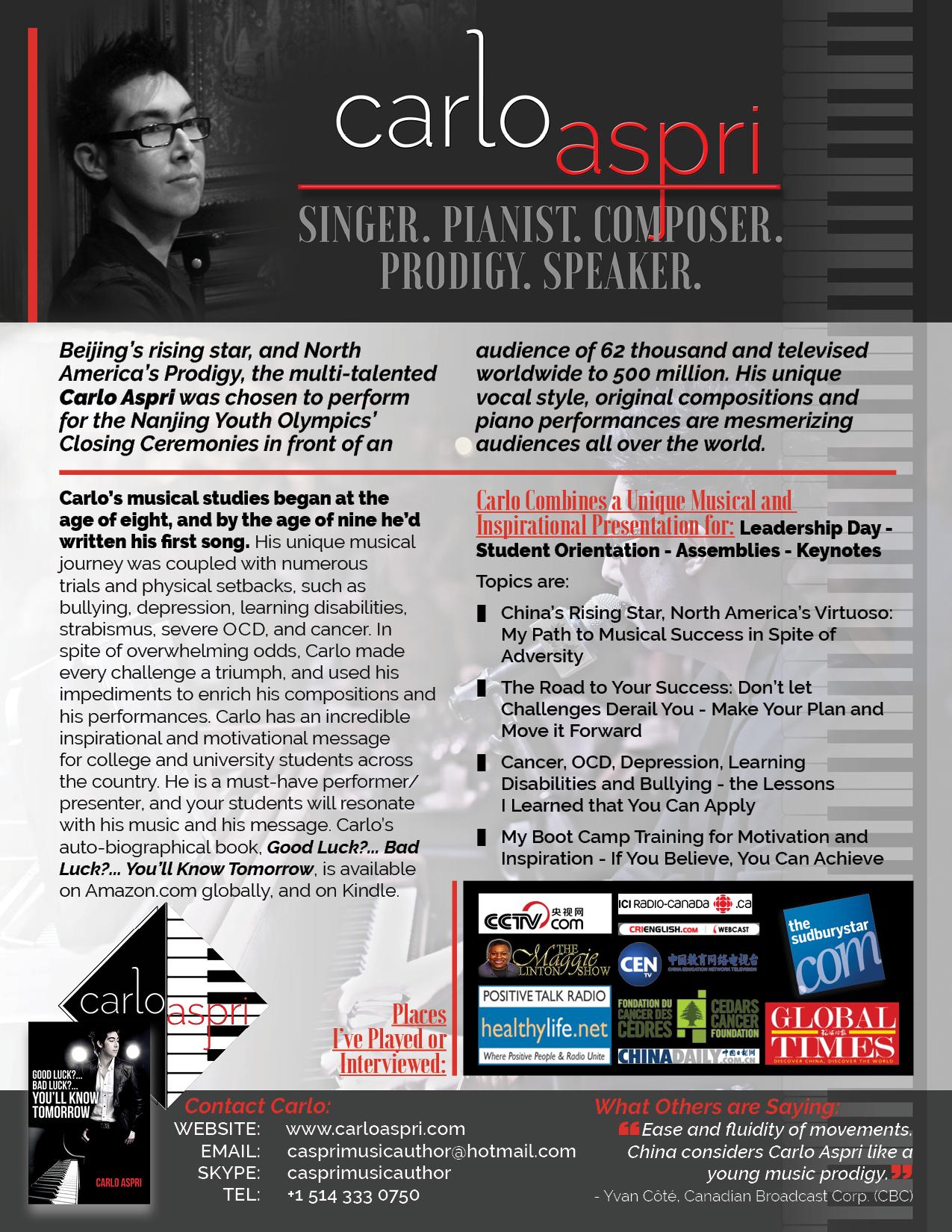 Carlo Aspri - Speaker - Singer - Pianist - Composer - Prodigy -